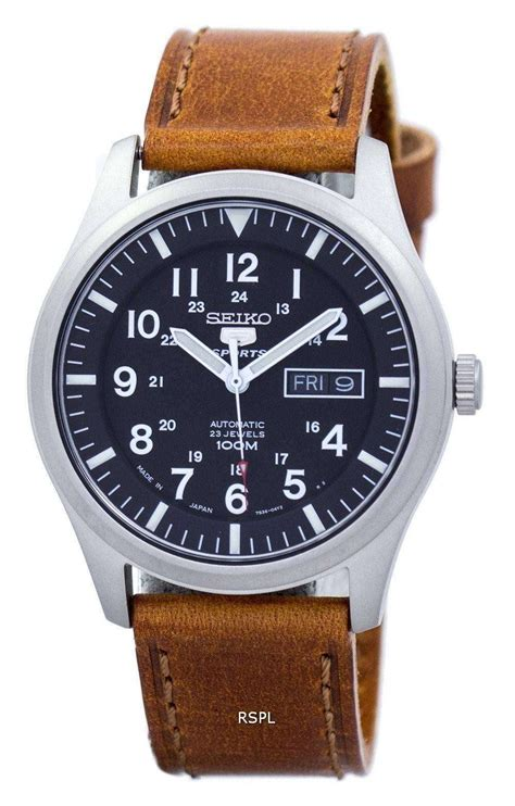 Seiko 5 Sports Automatic Japan Made Ratio Brown Leather
