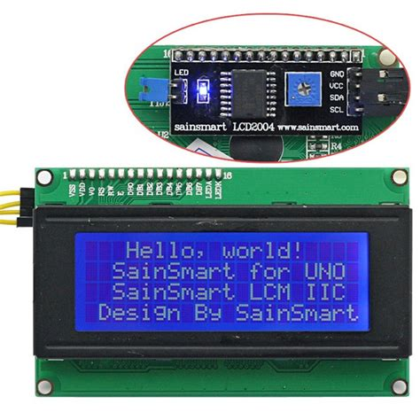 SainSmart IIC/I2C/TWI Serial 2004 20x4 LCD Module Shield