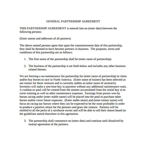 FREE 11+ Sample General Partnership Agreement Templates in