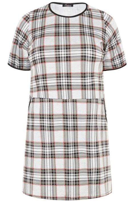 LIMITED COLLECTION Grey Check Tunic Top | Plus Sizes 16 to