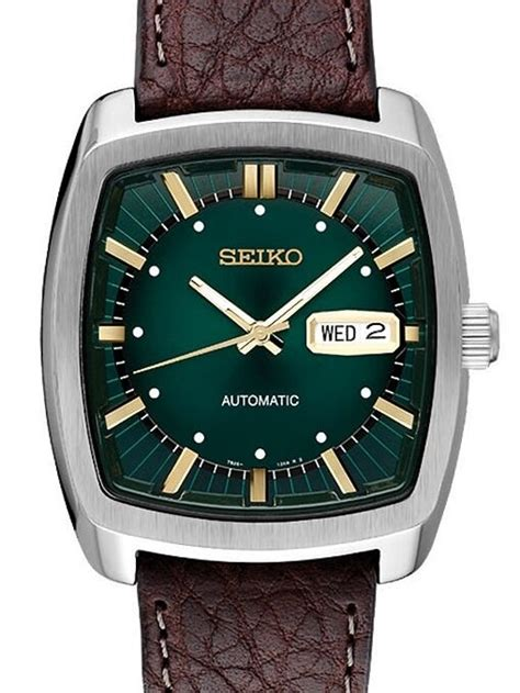SEIKO RECRAFT Series Square Green Dial Brown Leather Band