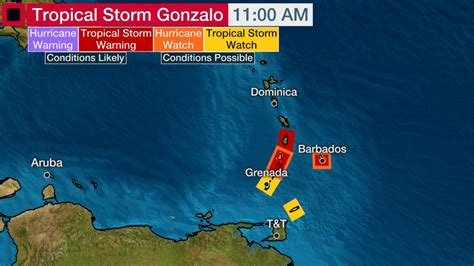 TS Gonzalo prompts tropical storm warning for several