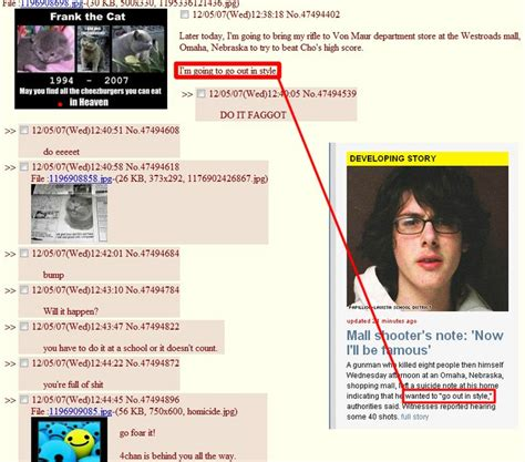 Today a young man posted on 4chan his intentions to commit