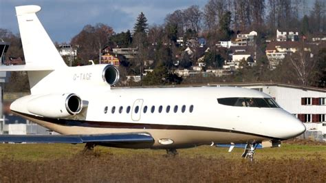 Dassault Falcon 900 G-TAGF Take Off at Bern Airport - YouTube