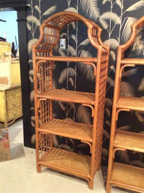 SOLD Pair Rattan Pagoda Etageres Wicker Bamboo Shelves