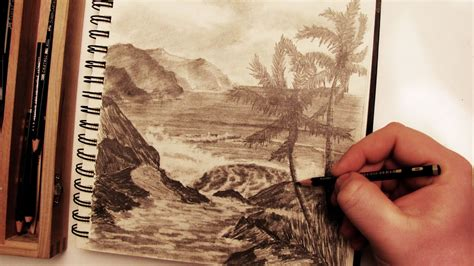 How to Draw a Realistic Palm Tree Beach Landscape in