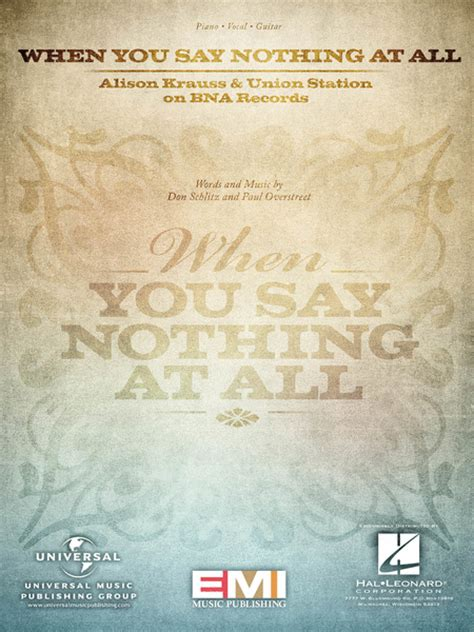 When You Say Nothing At All Sheet Music By Alison Krauss