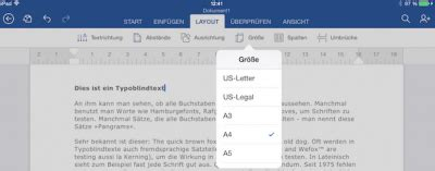 Office fürs iPad: Grundeinstellungen in Office Word Dokumenten