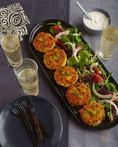 Crab Cakes with Fennel, Watercress, and Blood Orange-Chive