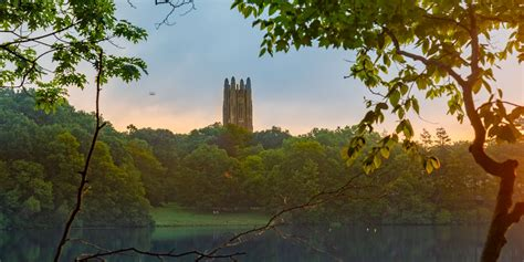 Wellesley's Lake Waban and Galen Stone Tower at Dawn