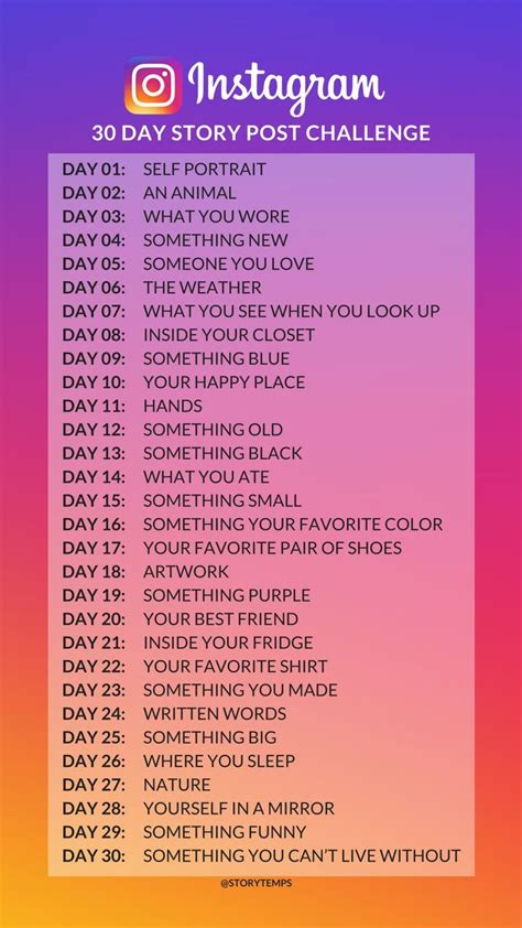 30 day Instagram story post challenge - ideas for
