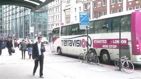 London Bus Stop to Stansted by Liverpool Street Station at
